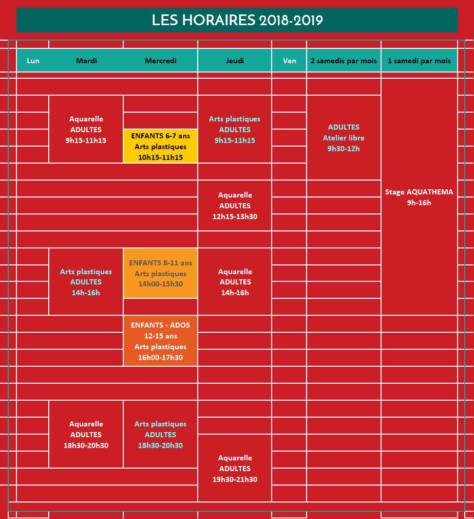 Planning des cours 2018-2019, Atelier Aquadelia